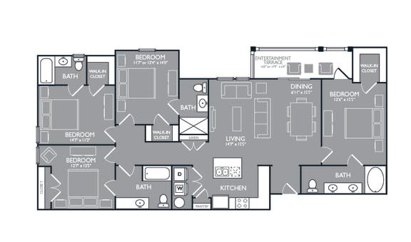Four-Bedroom Floor Plan at Mansions at Spring Creek, Garland