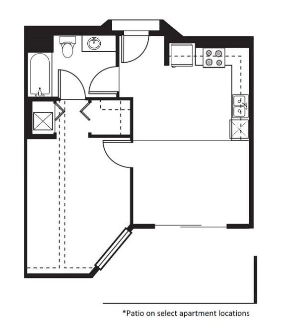 1.1B Floor Plan at One Santa Fe Residential, Los Angeles, California