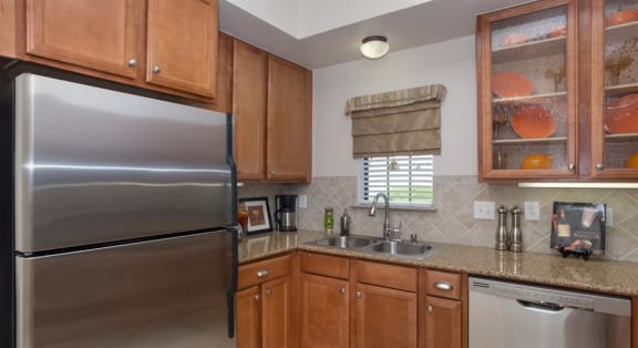 Refrigerator And Kitchen Appliances at Estancia Townhomes, Dallas, TX, 75248