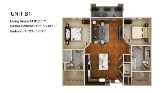 Floor Plan  B1 FloorPlan at Liberty Mill, Germantown, 20874