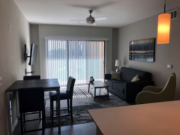 Living Room At Union At Roosevelt Apartments In Phoenix, AZ