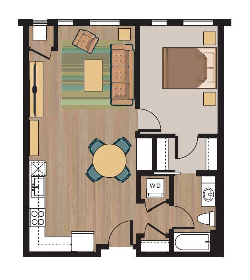 1 bedroom 1 bath floorplan