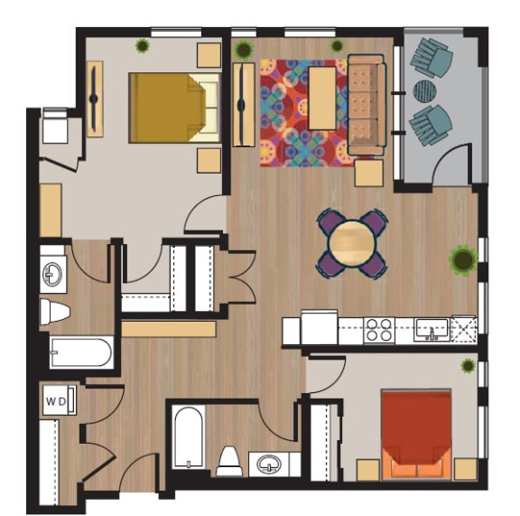 2bedroom 2 bath floorplan