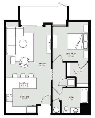 One Bedroom Unit 3A