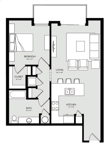 One Bedroom Unit 4