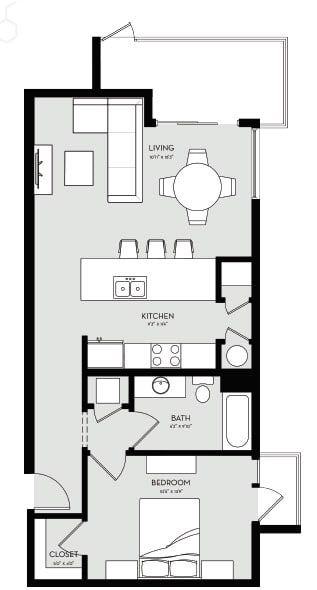 One Bedroom Unit 5