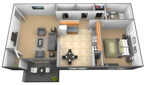 1 bedroom 1 bathroom floor plan at Cub Hill Apartments in
