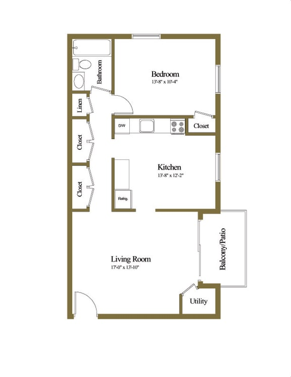 1 bedroom 1 bathroom floor plan at Cub Hill Apartments in Parkville, MD
