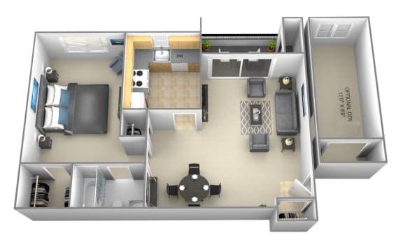 1 bedroom 1 bathroom floor plan at Woodsdale Apartments in Abingdon, MD