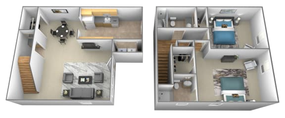2 bedroom 2 bathroom 3D floorplan at Spring Hill Apartments and Townhomes