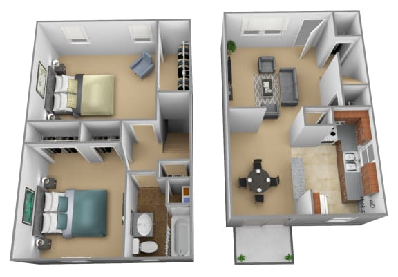 Yorktowne Townhomes in Hanover PA 2 Bedroom 1 bathroom 3D Floorplan