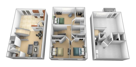 Floor Plan  3 bedroom 2 bathroom floor plan at Carlson Woods Townhomes in Randallstown MD