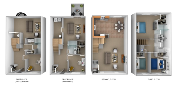4 bedroom 3D floor plan at The Pointe at Manorgreen in Middle River, MD