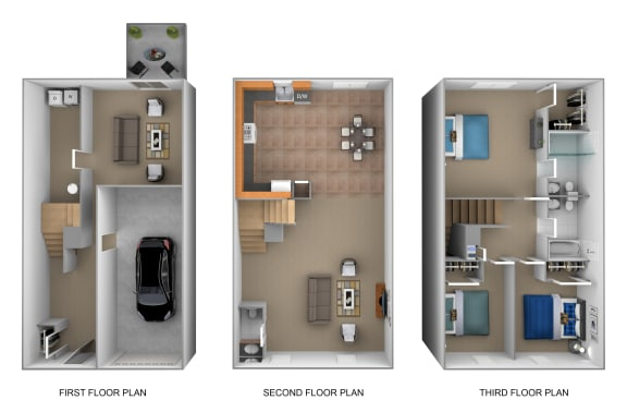 3 bedroom 2.5 bathroom with garage 3D floor plan at The Pointe at Manorgreen in Middle River, MD