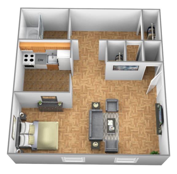 Studio 1 bedroom 1 bathroom 3D floor plan at Winston Apartments in Baltimore MD