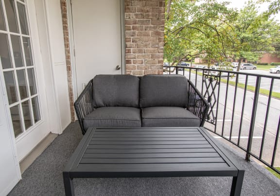 Private patio or balcony in each apartment in The Brittany Apartments
