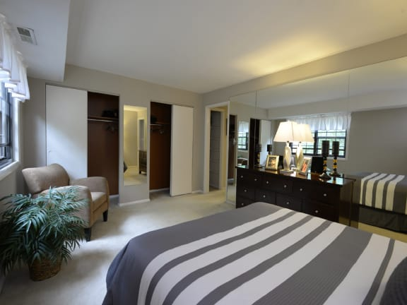 Spacious second bedroom  with lots of closet space at Liberty Gardens