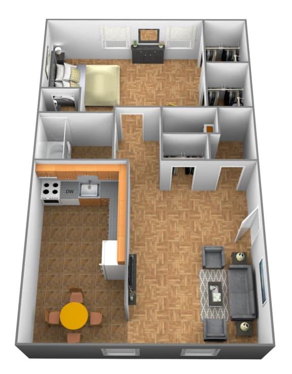 Floor Plan  1 bedroom 1 bathroom 3D floor plan at Winston Apartments in Baltimore Belvedere MD
