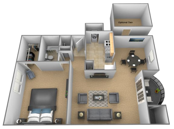 1 bedroom 1 bathroom Breton apartment floor plan at The Brittany in Pikesville