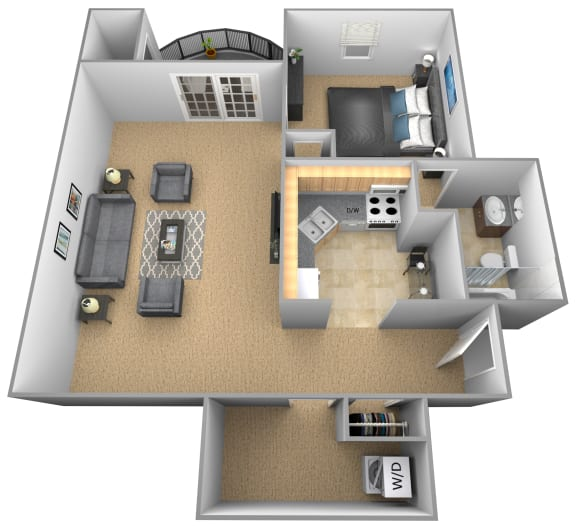 Floor Plan  Jr 1 bedroom 1 bathroom St Tropez apartment floor plan at The Brittany in Pikesville