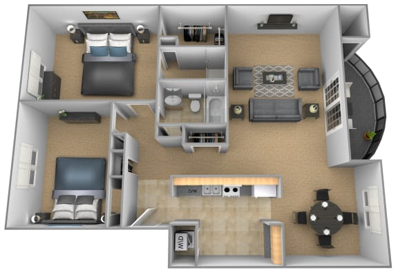 Floor Plan  2 bedroom 2 bathroom Chateau apartment floor plan at The Brittany in Pikesville