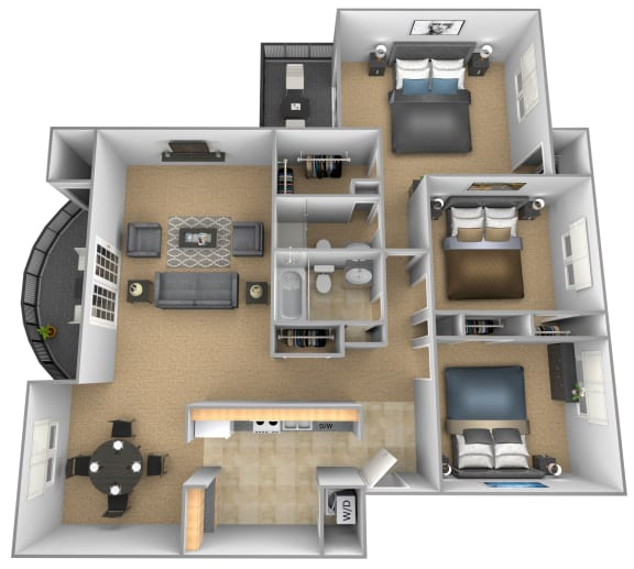 3 bedroom 2 bathroom Versales apartment floor plan at The Brittany in Pikesville