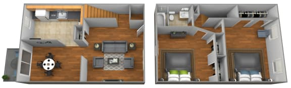 2 bedroom 1 bathroom floor plan at Colony Hill Townhomes