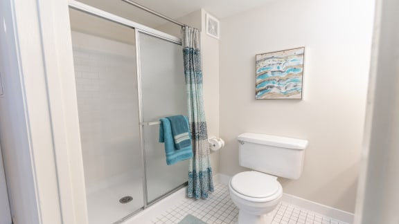 Renovated bathrooms include subway tile in each Cromwell Valley bathroom