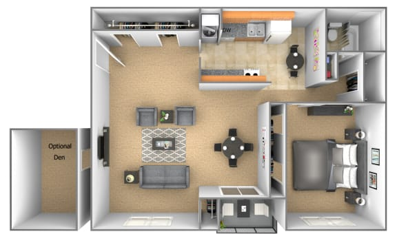 1 bedroom 1 bathroom floor plan with den at Deer Park Apartments in Randallstown, MD