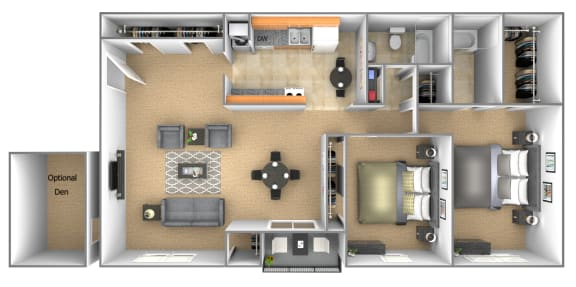 2 bedroom 2 bathroom floor plan with den at Deer Park Apartments in Randallstown, MD