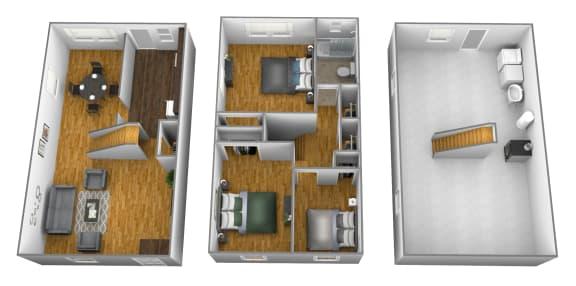 3 bedroom 1 bathroom floor plan style 2 at Foxridge Townhomes in Essex, MD