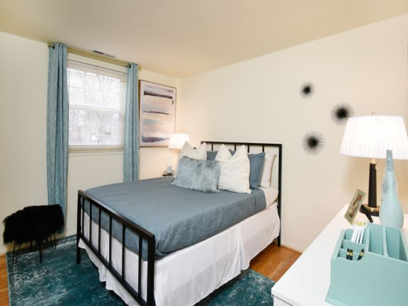 Hyde Park Apartments second bedroom with hardwood floors throughout