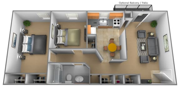 Floor Plan  Two Bedroom One Bath