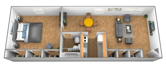 1 bedroom 1 bathroom 3D floor plan at Winston Apartments in Baltimore Lorraine MD
