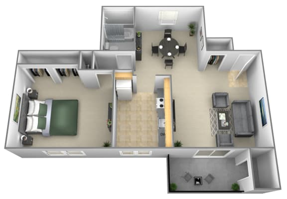 1 bedroom 1 bathroom style b floor plan at Liberty Gardens Apartments in Windsor Mill MD