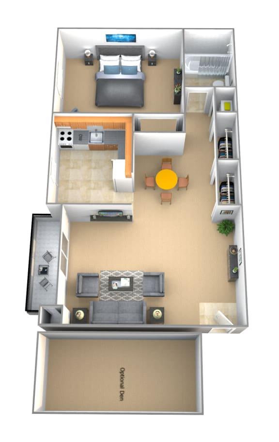 1 bedroom 1 bathroom Advocate floor plan at Lawyers Hill Apartments in Elkridge MD