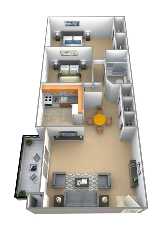 2 bedroom 1 bathroom Chancellor floor plan at Lawyers Hill Apartments in Elkridge MD