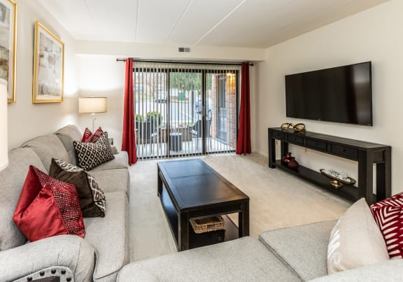 Spacious living room with patio at Ivy Hall Apartments