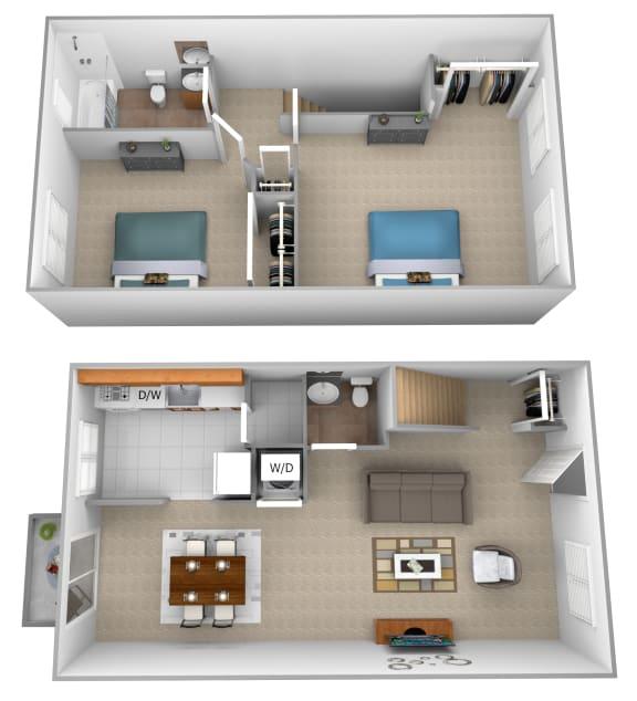 Floor Plan  2 bedroom 1 bathroom 3D floor plan at McDonogh Village Apartments in Randallstown MD