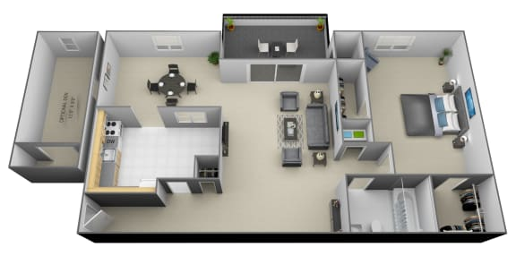 Floor Plan  1 bedroom 1 bathroom with den 3D floorplan at Painters Mill Apartments