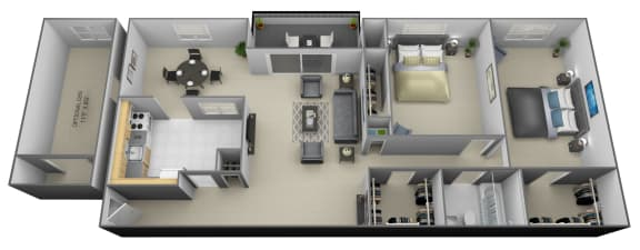 Floor Plan  2 bedroom 1 bathroom with den 3D floorplan at Painters Mill Apartments