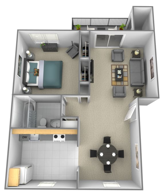 1 bedroom 1 bathroom style b 3D floor plan at Rockdale Gardens Apartments