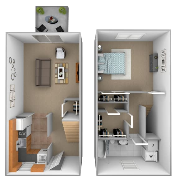 Floor Plan  1 bedroom 1 bathroom Ashland floor plan at Seven Oaks Townhomes in
