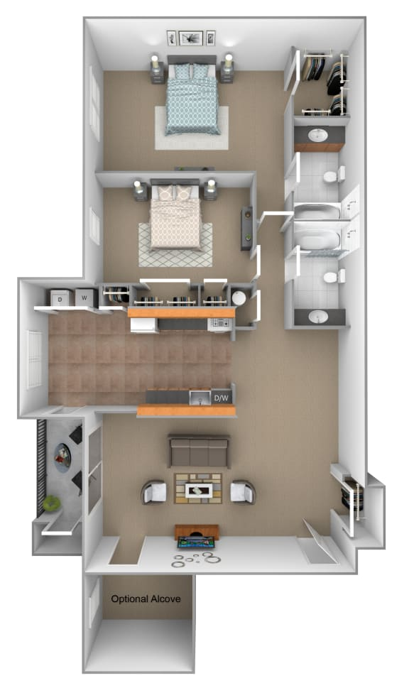 Floor Plan  2 Bedroom 2 Bath with Partial Alcove