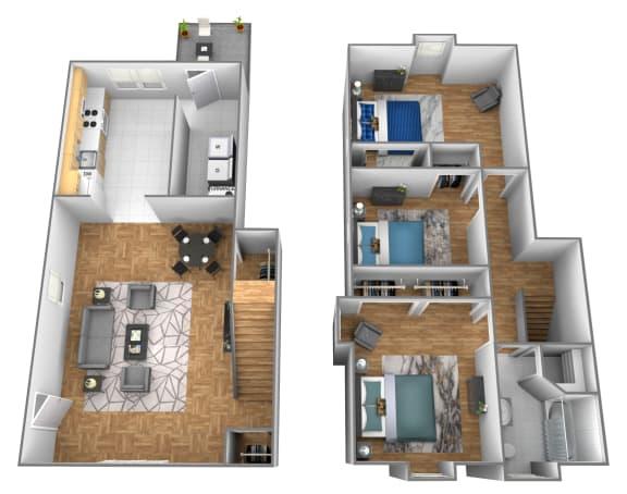 3 bedroom 1 bathroom end unit 3D floor plan at Somerset Woods Townhomes in