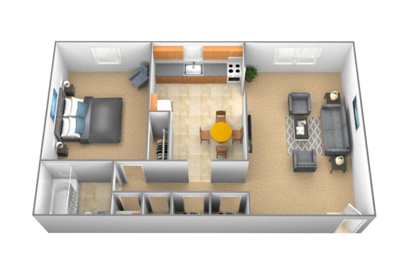 1 bedroom 1 bathroom apartment Brighton at Arbuta Arms Apartments
