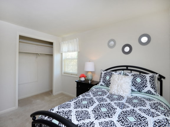 Large, carpeted bedrooms with natural light and plenty of closet space