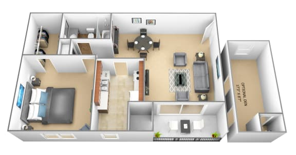 1 bedroom 1 bathroom with den 3D floor plan at The Village of Pine Run Apartments in Windsor Mill, MD