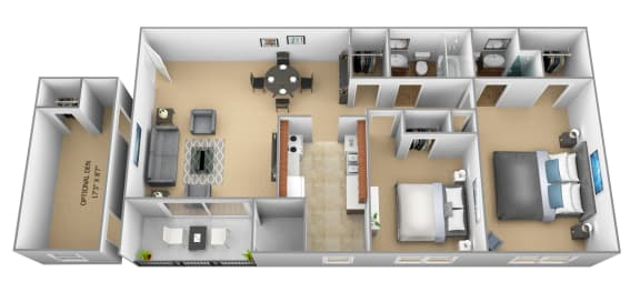 2 bedroom 2 bathroom 3D floor plan at The Village of Pine Run Apartments in Windsor Mill, MD