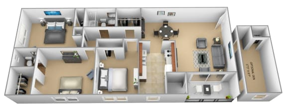 3 bedroom 1.5 bathroom with den 3D floor plan at The Village of Pine Run Apartments in Windsor Mill, MD